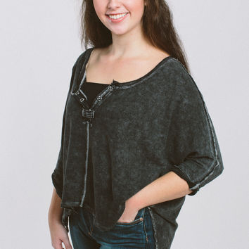 Free People First Base Henley - Black
