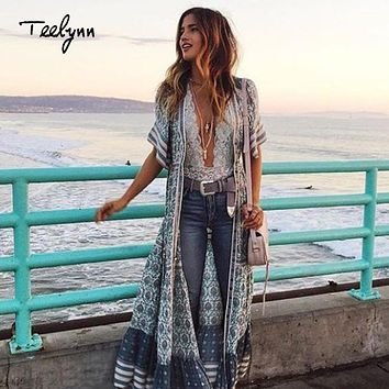 TEELYNN Boho long dress rayon green floral print sexy v-neck short sleeve beach wear summer dress chic women dress vestido
