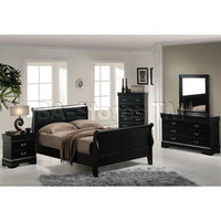 Louis Philippe II 5 PC Bedroom Set with Hidden Drawers in Black - Acme Furniture | Bedroom sets