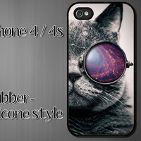 iPhone 4 Rubber Silicone  Case - Tumblr Cat Galaxy Glasses - iPhone 4s Case - iPhone 4 cover  silicone skin -b12-1-r