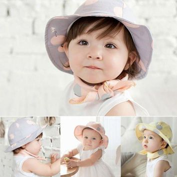 PEAP78W Toddler Infant Hats Sun Cap Polka Dot Summer Outdoor Baby Girl Hats Beach Bucket Sun Hat