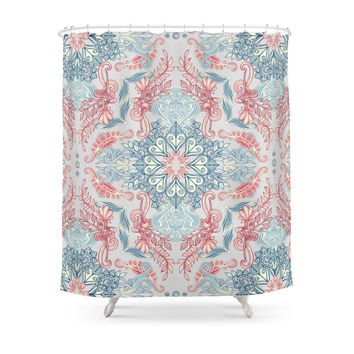 Society6 Vintage Fancy - A Pattern In Pale Blue, Navy & Deep Rose Shower Curtains
