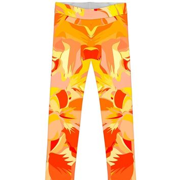 Flaming Hibiscus Lucy Cute Yellow Floral Print Legging - Girls