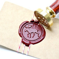 Moose Woodland Animal Gold Plated Wax Seal Stamp x 1