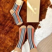 BURBERRY Classic Stylish Women Stripe Socks