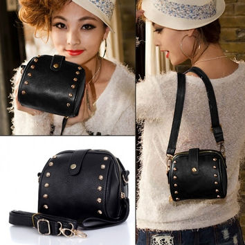 Artificial Leather Rivet Bag Mobile Phone Camera Bag Ladies Messenger Bag