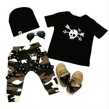 US STOCK Toddler Kids Baby Boy Girl Outfit Clothes T-shirt Tops+Long Pants Set