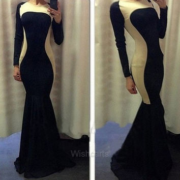 New Stylish Women's Ladies Long Sleeve O-Neck Sexy Splicing Slim Fitting Cocktail Party Club Evening Fishtail Long Dress Gown