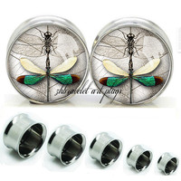 art  Dragonfly  Double Flare steel  plugs,womens plugs,Body Piercing Gifts,0g plugs,00 plug,birthday presents for him,groom &bride gift
