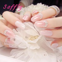 Saffly 24 Pcs Fashion Long False Nails pure colour nail tip with small rhinestone Fake Nails For Party use with glue sticker