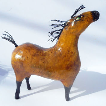 Frisco the Buckskin -OOAK Whimsical Paper Mache Horse Sculpture