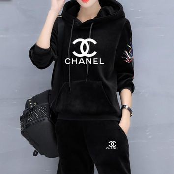 """Chanel"" Fashion Casual Letter Print Hooded Embroidery Long Sleeve  Two-Piece Sportswear"