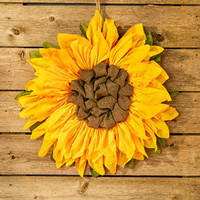 "21"" Country Sunflower Wall Hanging Art Country Rustic Door Hanger Home Decor"