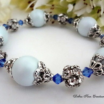 Swarovski Sapphire Crystal Blue Pearl Bracelet Antique Silver Blue Bridesmaid Bracelet Blue Wedding Bridal Bridesmaid Jewelry Vintage Style