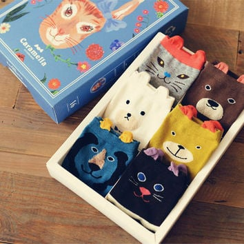 Box of 6 Cartoon Animals Cat Bear Cotton Socks Novelty Gift