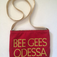 BEE GEES - Upcycled/ Reclaimed Rock T-Shirt Sling Purse - ooak