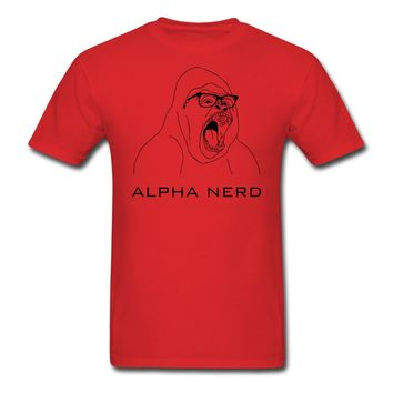 Alpha_nerd Men's T-Shirt Short Sleeve O-Neck Cotton T Shirt Mens Hipster Short Sleeve Tee Tops New 2017 Fashion Hot