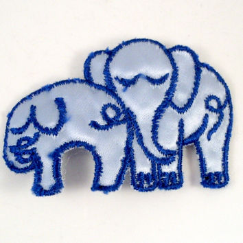 Vintage Sew On Patch Blue Elephants 1970s