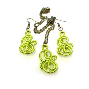 Chartreuse Wire Jewelry Set Earrings Pendant Necklace Modern Lime Green Fun Spring Jewelry