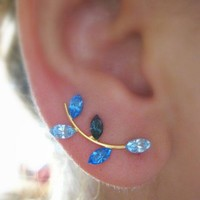 Ear Sweep Wrap - Cuff Earring with Swarovsky - Gold Filled- Blue