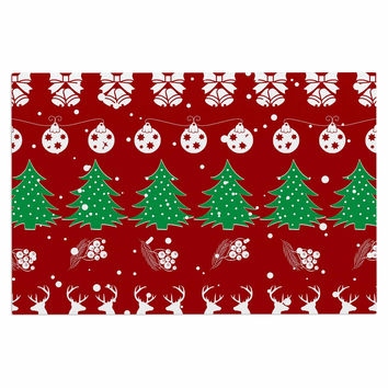 "Famenxt ""Christmas Vibes Red"" Red Green Illustration Decorative Door Mat"