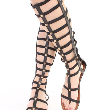 Black Studded Elastic Gladiator Sandals Faux Leather