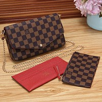Louis Vuitton LV Women Fashion Leather Chain Crossbody Shoulder Bag Satchel Set Three Piece