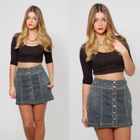 Vintage 90s DENIM Skirt  Denim Mini Skirt GRUNGE Denim Skirt Snap Front Hipster Mini Skirt