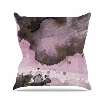 Pink and Black - Pink Black Abstract Watercolor Throw Pillow