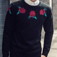 Stylish Round Neck Funny Flower Jacquard Slim Fit Long Sleeves Cotton Blend Sweater For Men