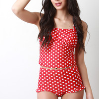 Polka Dots High Waisted Tankini Set