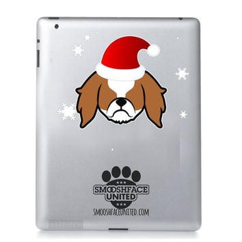 King Charles Spaniel reindeer - Cavalier Holiday decal - dog dog vinyl sticker - a fun touch for the Christmas & Holiday season!