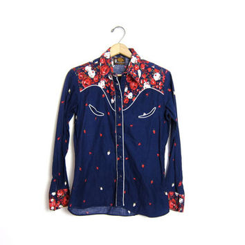 vintage 70s floral western shirt with pearl snaps. Blue red white Kenny Rogers cowgirl shirt. Button up 80s ranchwear shirt. womens XS Small