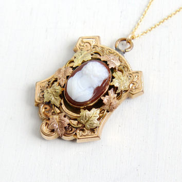 Antique Victorian Cameo Leaf Locket Necklace - Vintage Late 1800s Gold Filled Ivy Endearment & Love Hard-stone Etched Pendant Jewelry