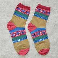 FunShop Woman's Geometric Pattern Cotton Ankel Socks Pack of Three (one A one B and one C) F1104
