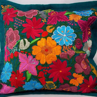 D069 vintage retro flower yarn cushion cover handmade oaxacan mexican handcrafted folk art