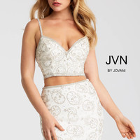 Jovani JVN55244 Two Piece Beaded Top And Skirt Dress