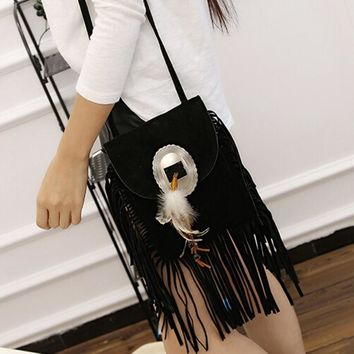 Women cross body vintage Suede messenger bag Tassels