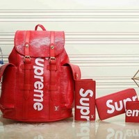 One-nice™ Perfect LV x Supreme Fashion Leather Backpack Travel Bag Purse Wallet Card Bag Set Four-Piece