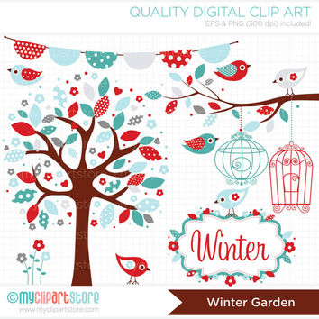 Winter Garden Clip Art / Digital Clipart - Instant Download