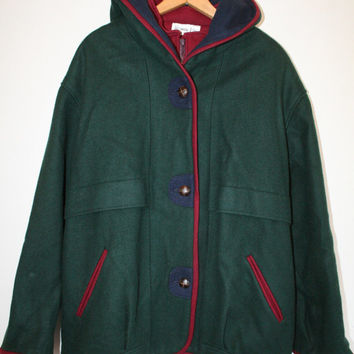 GREEN HOODED COAT // size womens large // 80s // colorblock // hood // outdoors // wool // forest green // vintage!