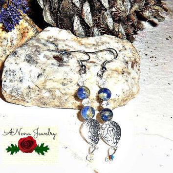 "Earrings: Handmade Sodalite, And Swarovski Crystals ""Lovable"""