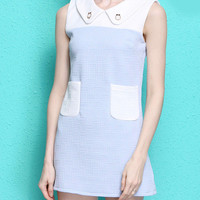 Light Blue and White Sleeveless Mini Shift Dress