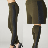 Army Green Stretch Leather Pants