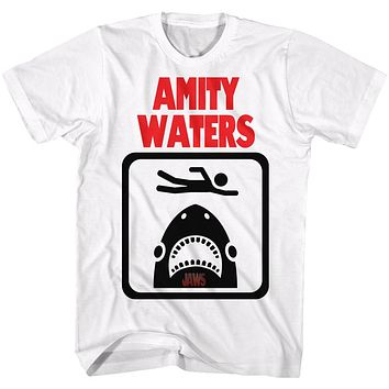 Jaws Tall T-Shirt Amity Waters Stick Figure Drawing White Tee