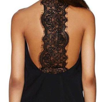 Casual Black Halter High Neck Ribbed Lace Bodysuit