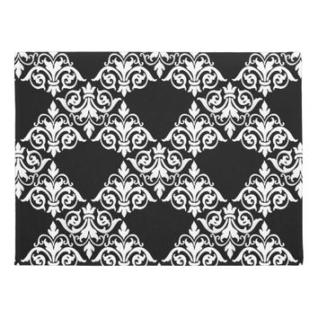 Black White Damask Lattice Doormat