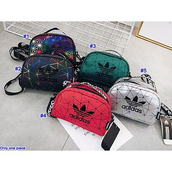ADIDAS hot seller fashion lady casual gradient stitching tattoo single shoulder shopping bag
