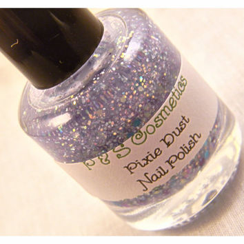 Pixie Dust-Nail Polish, Indie Polish, Nail Lacquer, Teal, and Purple Clear Polish, Franken Polish, Teal, Purple and Blue Glitter