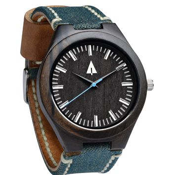 Wooden Watch // Theo Denim Blue